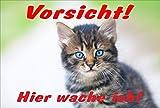 Schild Katze – Vorsicht – Hier wache ich – Katzenschild - 30x20cm Hartschaum Aluverbund -S313F