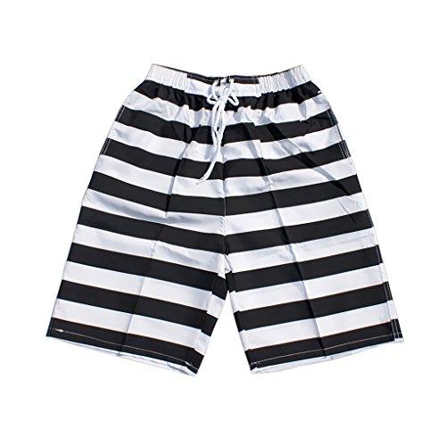 Liebespaar Boardshorts Badeshorts Badehose Beach Shorts/ Lässig, Surfen, Sommer, Strand Shorts XXL Herren Schwarz und weiß Streifen