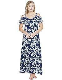 30a2928a46 Patrorna Cotton Silk Blend Women s Cold Shoulder A Line Nighty Night Dress  in Blue Print (