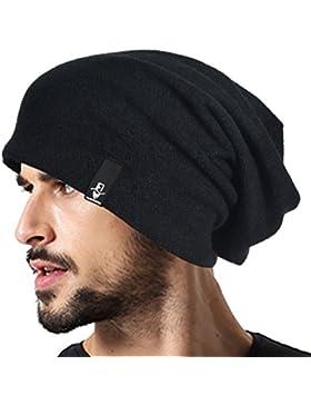 Hombre Algodón Negro Gorro Casquete Holgado Invierno Verano Sombreros