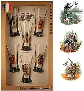 Coffret de 6 verres à pastis sérigraphie chasse