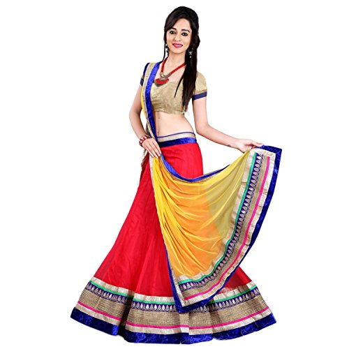 Aagaman Fashions Indian Trendy Rot Farbige Grenze Arbeitsnetz Lehenga Choli (Perlen Georgette Top)