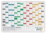 Rainbow Wandkalender / Wandplaner 2019 - gefaltet DIN A1 Format (594 x 841 mm) mit 14 Monaten, kompletter Jahresvorschau 2020 und Ferientermine/Feiertage aller Bundesländer