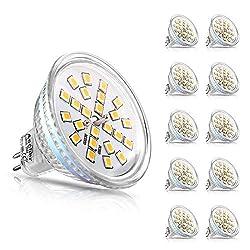 Ascher 10er Pack MR16 GU5.3 LED Lampen, 400LM, 4W Ersatz für 50W Halogenlampen, Warmweiß(2900K), Nicht Dimmbar, 12V AC/DC, LED-Reflektorlampe mit GU5.3-Sockel