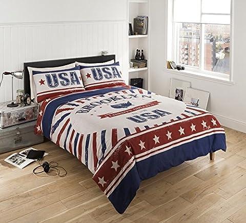 Bettwäsche-Set Design Brooklyn USA, Bettbezug Kissenbezüge Polyester-Baumwoll-Mischgewebe, Größen Einzelbettgröße, Doppelbettgröße, Kingsize-Größe, Baumwollmischung, (Ge Quilt Designs)