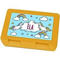 Preisvergleich für Brotdose mit Namen Ela - Motiv Einhorn, Lunchbox mit Namen, Frühstücksdose Kunststoff lebensmittelecht