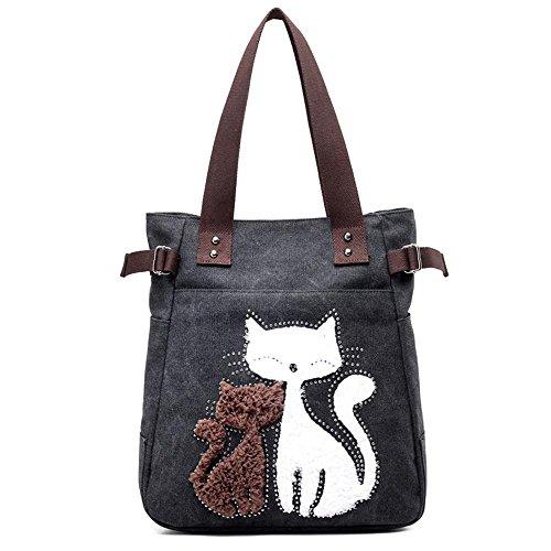 Sacchetto della tela di canapa Lady Cat Messenger Spalla portatile Black