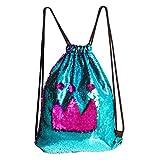 DrCosy Meerjungfrau Kordelzug Magie Reversible Pailletten Rucksack Mode Glitzernde Tanz Tasche mit Tasche 35x45CM (See Blau/Rose Rot)