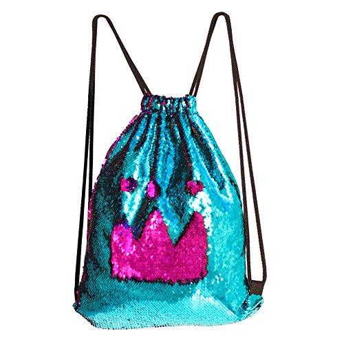 (DrCosy Meerjungfrau Kordelzug Magie Reversible Pailletten Rucksack Mode Glitzernde Tanz Tasche mit Tasche 35x45CM (See Blau/Rose Rot))