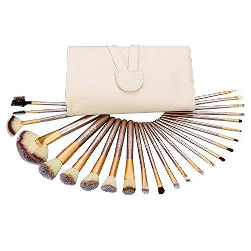 Abody Lot de 24 pinceaux de maquillage professionnel maquillage cosmétique sac blanc Kit de pinceaux indispensable avec pinceau poudre fard à paupières sourcils Pinceau Eyeliner