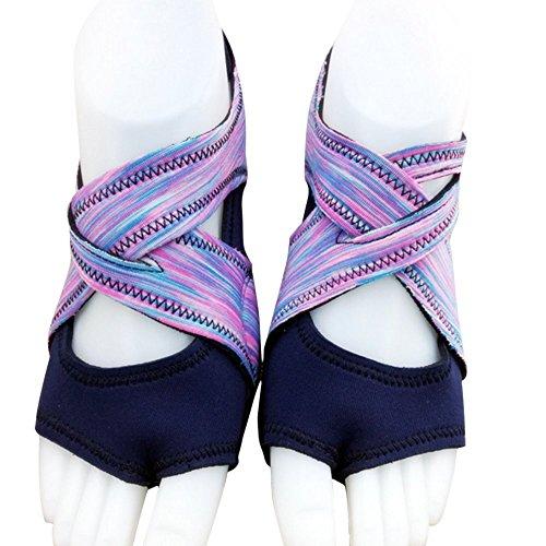 AiYoYo Anti-Rutsch Yoga Socken Yoga Schuhe 2 in 1 aus Biologischer Baumwolle mit Offenen Zehen für Ballet,Yoga,Pilates,Tanz Sport