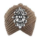 Hosaire Femme Hiver Chapeau Fille Doux Tricoté Bonnet Mode Fleurs de Cristal Ski Chapeau Chaud Crochet Béret Casquette Solid Couleur Café