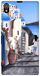 The Racoon Grip Santorini,Greece hard plastic printed back case / cover for Sony Xperia Z1