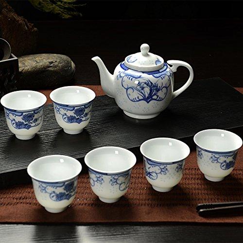 Tee Tassen Tee Set dünne Platte blau und weiß Porzellan Tee Set (Miniatur-platte Rack)