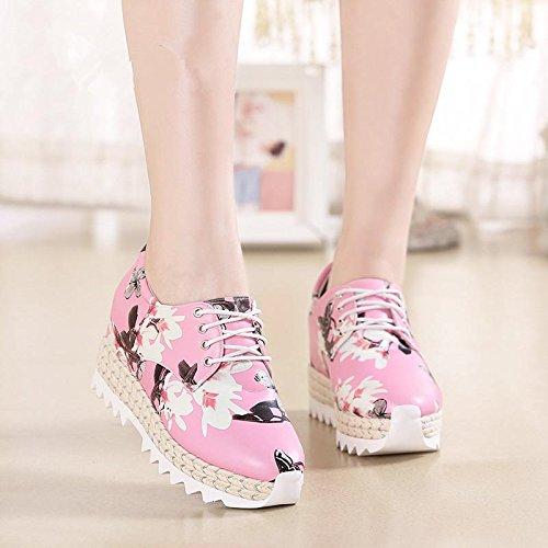 BaiLing Damen Sommer Sandalen / Sneaker mit High Heel Handgefertigte gestrickte / Mode Druck Damen kleine Größe Schuhe Pink