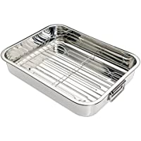 "KitchenCraft Medium Stainless Steel Roasting Tin with Rack, 37 x 28 cm (14.5"" x 11"")"