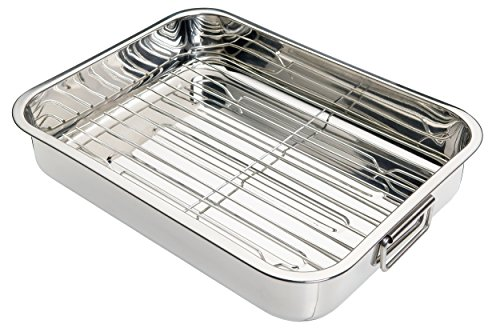 Kitchen Craft - Fuente de horno rectangular con rejilla acero inoxidable, color plateado, 37 x 28...