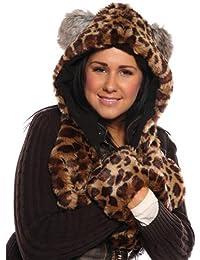 Socks Uwear New Womens Faux Fur Hooded Scarf with Pockets Warm Winter Thermal Fashion Hat