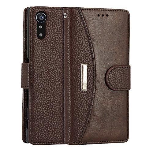 Sony Xperia XZ Hülle, IDOOLS Leder Handyhülle mit Kartensteckplatz, Magnetisch Flip Brieftasche, Handyständer Funktion - Braun