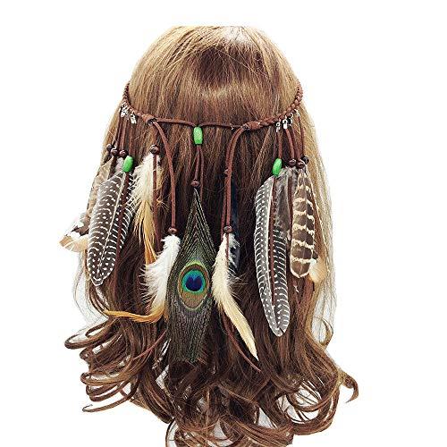 Zigeuner Damen Prinzessin Kostüm - Jurxy Böhmische Pfau Feder Kopfschmuck Stirnband Damen Hippie Boho Indianer Stirnbänder Zigeuner Headwear Weben Frau Mädchen Lieblings Haarschmuck - Braun- Stil 3