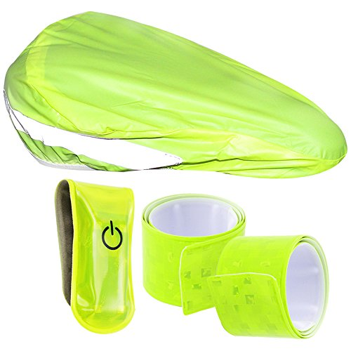 COM-FOUR® 4-teiliges Fahrrad-Reflektor Set mit Sattel-Schutzbezug, Reflektor-Schnapparmbändern und LED Sicherheitsclip mit Magnetverschluss (4-teilig - Mix3)