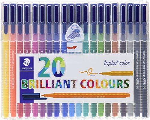 Staedtler triplus color, 323 SB20 Filzstifte, Set mit 20 brillanten Farben, hohe Qualität, CE - kindgerecht DIN EN-71, stabile, eindrucksichere Spitze, Linienbreite ca. 1 mm