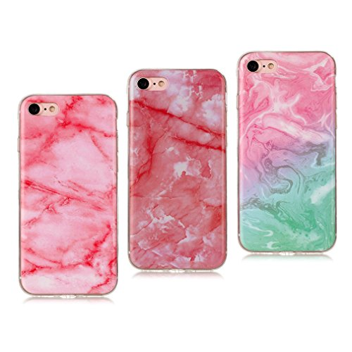 iPhone 7 Coque (Marbre), iPhone 7 Coque Transparente Silicone en Gel Tpu Souple, Housse Etui Coque de Protection avec Absorption de Choc et Anti-Scratch OUJD (Rose profond,Rose,rose verte) Rose profond,Rose,rose verte