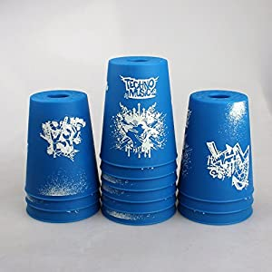 Dodolive®12Pcs Sport Stacking Cup Flyingcup Athletics Toys Sports Educational Gift Scrawl Design,Blue