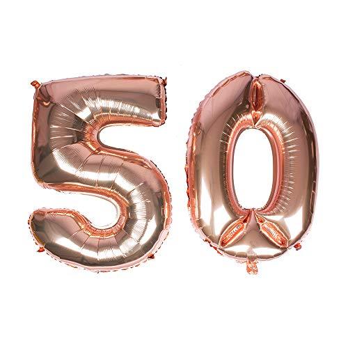 Globo gigante de oro rosa, número 50, 40 ''Mylar Foil Numero Globos de helio para 50 cumpleaños decoraciones de eventos annavesarios suministros – helio flotante