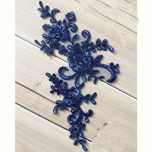 4.7X9.8 Navy Blue Retro Victorian Metallic Lace Flower Applique Lace Bridal Wedding Lace Trim on Organza Craft Sewing Supplies Lots of 2 Pairs by Beautiful By Design Bridal Lace Applique