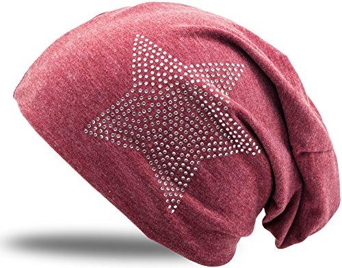 Jersey Baumwolle elastisches Long Slouch Beanie Unisex Herren Damen mit Strass Stern Steinen Mütze Heather in 35 verschiedenen Farben (2) (Heather Winered)