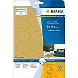 Herma 4106 Wetterfeste Etiketten gold, oval (58,4 x 42,3 mm) 450 Aufkleber, 25 Blatt A4 Klebefolie glänzend, bedruckbar, selbstklebend