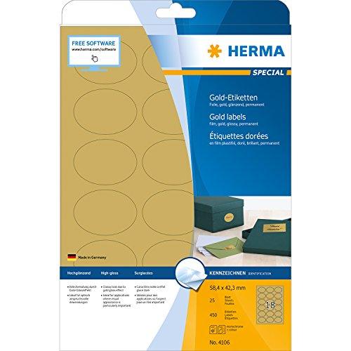 Herma 4106 Wetterfeste Folien-Etiketten oval, gold (58,4 x 42,3 mm) 450 Aufkleber, 25 Blatt DIN A4 Klebefolie glänzend, bedruckbar, selbstklebend