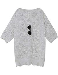 SGHTRHXUT suéter Suéter de Punto Ahuecado Caliente Floja Marea de Bienes Europeos Delgado Ahuecado Jersey de Punto de Hielo, Blanco, código Uniforme
