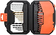 Black+Decker 30 Pieces Titanium Bit Accessory Set in Kitbox for Wood, Metal & Concrete Drilling & Scre