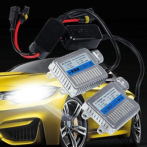MIHAZ Superhelles 12V 55W H1 H3 H4 H7 H11 9005 9006 6000K Xenon VERSTECKTE helle Ballast-Scheinwerfer-vordere Nebel-Licht-Wiedereinbaubirnen Umbausatz (2pcs 55W Wechselstrom-Vorschaltgerät)