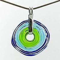 Kette mit Anhänger in Blau-Grün aus Murano-Glas   Glas-Schmuck Wechsel-Schmuck   Unikat personalisiert handmade handgemacht   Geschenk zu Muttertag Geburtstag   Einzigartiges Geschenk zu Weihnachten   Frau, Oma, Mutter