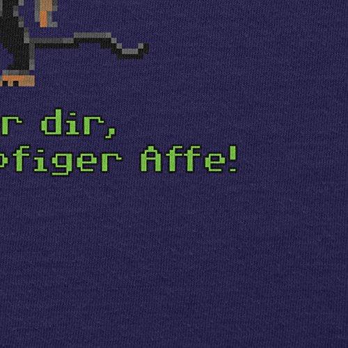 NERDO - Dreiköpfiger Affe - Damen T-Shirt Navy