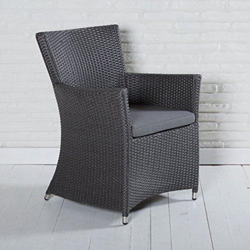 Armlehnstuhl Gartenstuhl Rocking in grau mit Sitzkissen Armlehnstuhl für Garten, Terrasse oder Balkon – Gartenmöbel Poly Rattan Gartensessel Stuhl Sessel Auflage