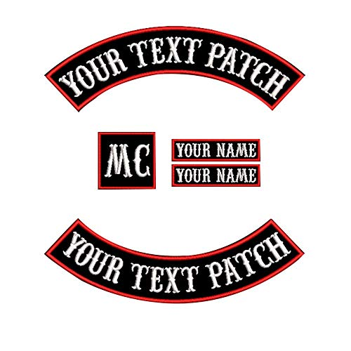 Patchs Personnalisables pour Vestes de Biker Moto Rocker Nom Red on black
