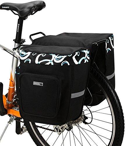 fahrrad einkaufstasche DCCN 30L Fahrradtasche Satteltasche Fahrrad Gepäckträgertasche Super Design 2 in 1 Hinter Koffer Reißfest Schockresistent