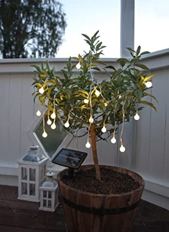 Hochwertige Party - Lichterkette SOLAR , Gesamtlänge 675 cm , ideal zur Beleuchtung von Pflanzen, Pergola , Mauern , Pavillon , Bäumen und Büschen - LED SOLAR LICHTERKETTE - mit 20 warm white LED - Lampen und einem Solar - Panel mit Dämmerungsensor - Solar Energy - Für den Innen - und Außen - Bereich geeignet - aus dem KAMACA-SHOP