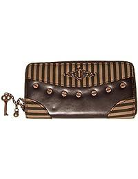 dad06f5a2147 BANNED Clothing Pinstripe Brown Black STEAMPUNK WALLET Purse Goth Vintage