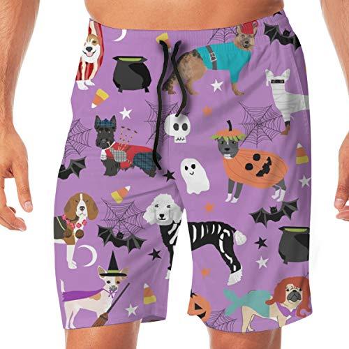 Hunde in Halloween-Kostümen - Hunderassen gekleidet Stoff - Purple_232 Männer Badehose Surf Strand Urlaub Party Badehose Strandhose XL (Et Halloween Gekleidet Für)