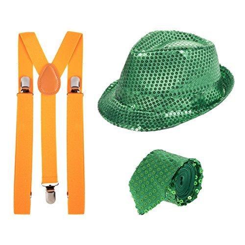St Patricks Tag Grün Paillette Fedora, Grün Paillette Krawatte & Orange (St Hosenträger Patricks Tag)