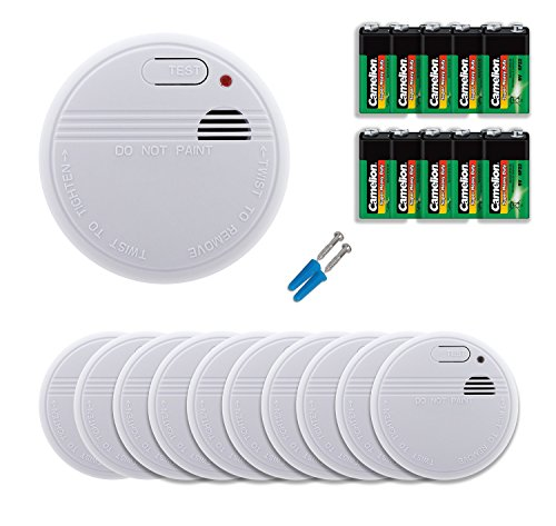 10er Set Rauchwarnmelder | Rauchmelder Set mit 10 neuen 9V Volt Batterien