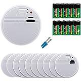 10er Set Rauchwarnmelder | Rauchmelder Set mit 10 neuen 9V Volt Alkaline Batterien