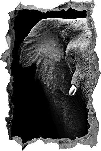 Elegante Elephant muro Ritratto passo avanti nel look 3D, parete o in formato adesivo porta: 62x42cm, autoadesivi della parete, autoadesivo della parete, decorazione della parete