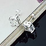 Skyllc® Cristales de plata con estilo diamante cuadrado pendientes de la oreja Stud