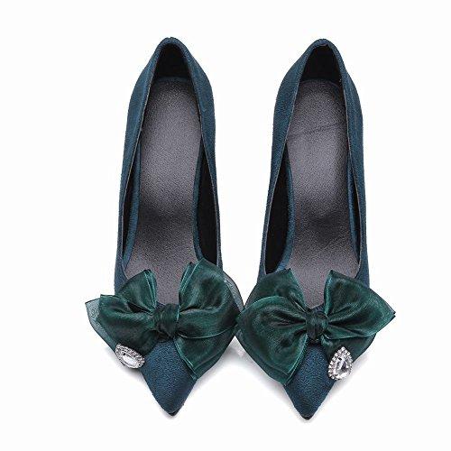 Mee Shoes Damen high heels mit Schleife Nubuck Pumps Dunkelgrün